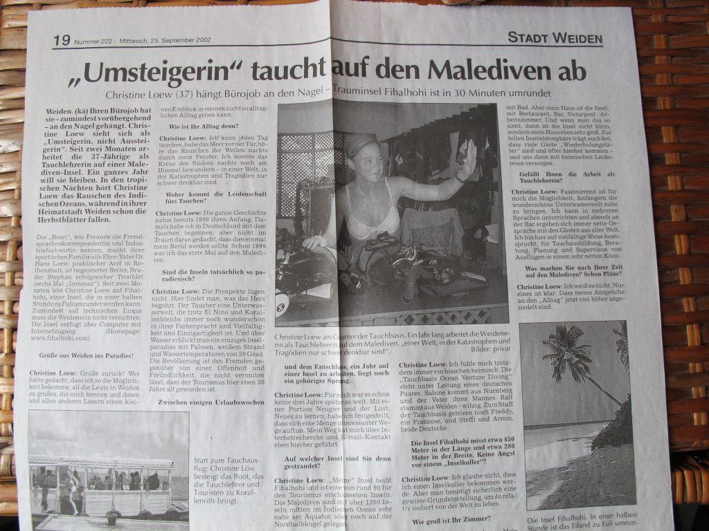 Zeitungsartikel aus der Neue TAg September 2002